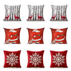"2 x 17"" Santa Christmas Reindeers Pattern Pillow Case Cover Square Holiday Gift image"