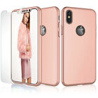 For iPhone Xs Max Xs 7 6s 360° Full Protective Hard Rubber Case+Screen Protector