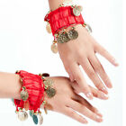 2 PCS COINS ANKLET BRACELET INDIA BOLLYWOOD BELLY DANCE TRIBAL COSTUME ARM CUFF