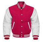 Hot Pink and   White Letterman Jacket in Wool and Genuine Le