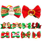 20/40/60/80/100Pcs Christmas Bowknots Dog Hair Bows Rubber Bands Dog Grooming