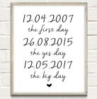 Personalised Couple Dates Typography Print Poster Unframed Home Wedding Gift