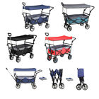 Folding Wagon w/ Canopy Garden Utility Travel Collapsible Cart Outdoor Camping