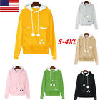 Womens Kangaroo Dog Cat Holder Carrier Coat Pouch Large Pocket Hoodie Tops US