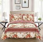 Fancy Linen Reversible Bedspread Set Floral Beige Pink Green All Sizes New image