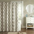 "Luxury Taupe & White Fretwork Design Fabric Shower Curtain - 72"" x 72"""