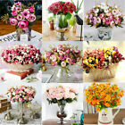 Artificial Rose Silk Flowers Leaf Bouquet Home Floral Wedding Garden Decor Uk