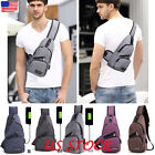 New Spring Men Polyester Small Sling Bags Chest Pack USB Charging Fanny Bags USA