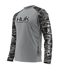 HUK Performance Camo Vented L/S Fish Boat Fishing T-shirt..011..Gray/White..S-3X
