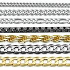 Amberta 925 Sterling Silver Link Chain Mens Curb Cuban Necklace ALL SIZES Italy