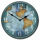 Vincenzo Blue World Map Vintage Wood Wall Clock Whisper Quiet