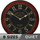 Bellingham Red Silent Decorative Non ticking Wall Clock Battery Operated