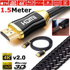 PREMIUM BRAIDED V2.0 HDMI Cable Ultra HD TV 2160p 4K ARC Long CHROME RANGE