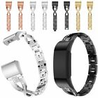 For Fitbit Charge3 Smart Watch Rhinestone Stainless Steel Watch Band Wrist Strap image