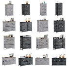 Fabric Cabinets Storage Unit Metal Frame Chest of Drawer Organiser Bedside Table