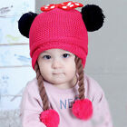 Toddler Baby Girl Winter Cotton Warm Earflap Hats Kids Knit Pom-Beanie Cute Caps