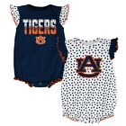 Auburn Tigers NCAA Newborn Navy/White 'Polka Fan' 2 Piece Creeper Set