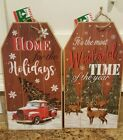 Christmas Wooden Gift Tag Door decor sign wall hanging you choose the design NWT