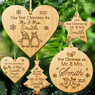 First Christmas as Mr and Mrs Tree Bauble Personalised Santa 1st Xmas Gift Decor