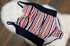 Ava & Viv Plus Red White Blue Patriotic Striped One Piece Pool Swimsuit