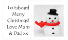 PERSONALISED PARTY BAG STICKERS CHRISTMAS XMAS PRESENT TAG LABEL THE SNOWMAN
