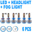 3Pair Led Headlight Kit & Fog Light Bulb A 6000K White H7 H7 H11