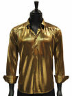 Barabas Mens Gold Shiny Liquid Metallic Look Trendy Party Long Sleve Fun Shirt