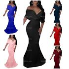 GOBLES Women Sexy V Neck Off The Shoulder Evening Gown Fishtail Maxi Dress