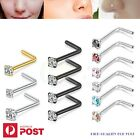 2-8pcs Nose Studs Rings Hoops L Shaped Surgical Steel Body Piercing Jewellery