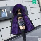 Women's Detachable Real Rabbit Fur Lined Overcoat Warm Large Collar Hooded Coat