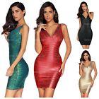 Meilun Women's Rayon Sexy V-neck Bandage Bodycon Strap Foil Club Dress