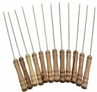 12PCS BBQ Skewers Nontoxic Stainless Steel Barbecure Forks + Wooden Handle BBQ