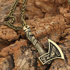 Vintage Norse Viking Pendant Norse Wolf Axe Mens Cord Rope Chain Necklace Amulet photo
