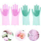 A Pair Magic Silicone Rubber Dish Washing Gloves Kitchen Bathroom Dish Cleaning