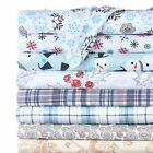 4-Piece Set: 100% Cotton Flannel Holiday & Winter Prints Deep Pocket Warm Sheets
