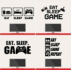 Eat Sleep Game Repeat Wall Stickers Gamer Boys Girls Kids Vinyl Bedroom Decal
