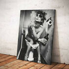 Lady Toilet Smoking Canvas Painting Picture Wall Art Print Decor Unframed Framed
