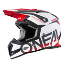 ONEAL 5 SRS BLOCKER MOTOCROSS OFFROAD HELMET - WHITE/GREY/RED #0618-08_