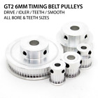 GT2 6mm Timing Belt Drive Pulleys - 16 20 30 36 40 60 80 Tooth - 5 to 12mm Bore
