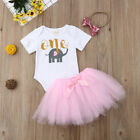 First Birthday Cartoon Dress Outfits Romper Skirt 3PCS Clothes For Baby Girls