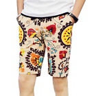 Men's beach Floral Printed Shorts Straight Knee Length Slim Pants Trousers