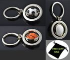 Football golf basketball Keychain Keyring Sports Silver Metal gift for him her