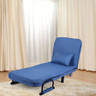 Folding Convertible Sofa Bed Sleeper Couch Lounge Adjustable Chair Blue/Brown