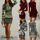 Us Sexy Women Bodycon Long Sleeve Stripe Evening Party Cocktail Club Short Dress