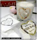 Heart stickers foil label wedding, Let love glow, jar Transparent Personalised