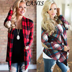 US New Women Long Sleeve Flannel Plaid Shirts Cardigan Blouse Casual Loose Tops