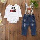 Baby Boy Girl First Birthday Outfits Romper + Suspender Denim Pants 2PCS Clothes