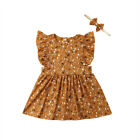 US STOCK Little-Big Sister Baby Girl Kids Floral Romper Dress Matching Outfits