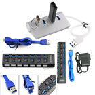 4/7 Port USB 3.0 Hub On/Off Switches AC Adapter Cable Splitter for PC Laptop EN