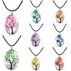 8 Colors Tree Of Life Oval Shape Pendant Necklaces Handmade Amber Glass